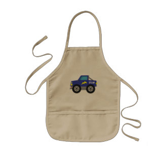 Racing Blue Monster Truck, for Boys Kids Apron