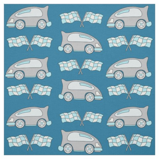 Racing Car and Flags on Blue Pattern Fabric