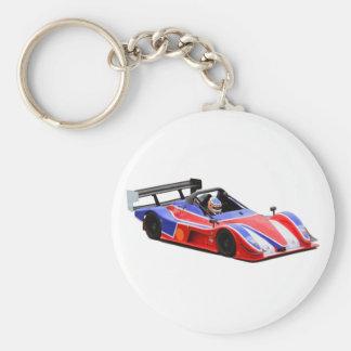 racing car basic round button keychain
