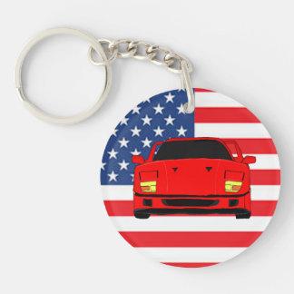 Racing car Double-Sided round acrylic keychain