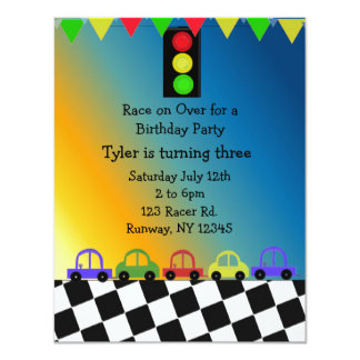 Racing Car Traffic Light Birthday Party Invitation