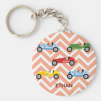 Racing Cars Auto Colorful Assorted on Chevron Key Chains