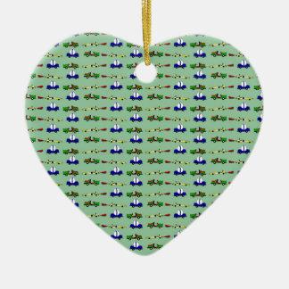 racing cars ceramic heart ornament