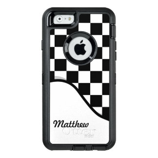 Racing Check Black White Checkered + Name OtterBox Defender iPhone Case