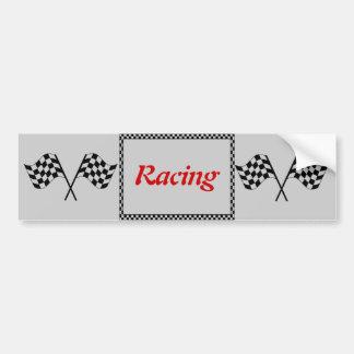 Racing Checkerboard Flags Bumper Sticker