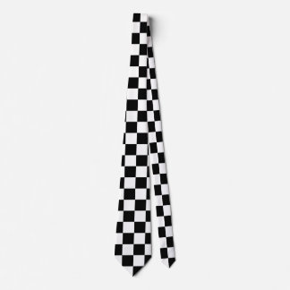 Racing Checkered Flag Pattern Large Black Tie