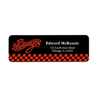 Racing, choose your background color return address label