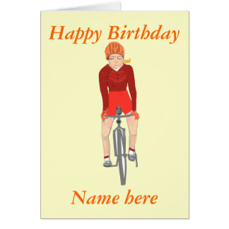 Racing Cyclist, woman add name and text Card