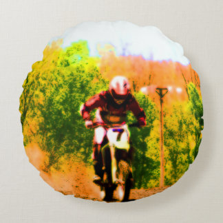 Racing Dirtbike Daredevil Round Pillow