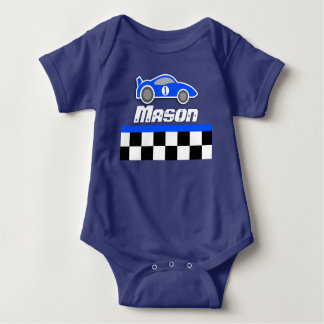 Racing driver blue car custom name baby boy romper