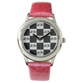 Racing Fans Winner Watch Black White Checked Flags