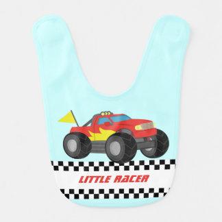 Racing Fiery Red Monster Truck Baby Boy Bib