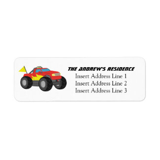 Racing Fiery Red Monster Truck, for Boys Return Address Label
