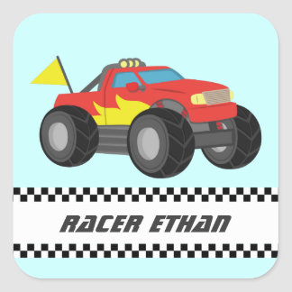 Racing Fiery Red Monster Truck, for Boys Square Sticker