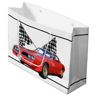 Racing Flags and Hot Rod Large Gift Bag