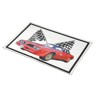 Racing Flags and Hot Rod Placemat