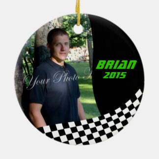 Racing Flags Photo Keepsake Round Ceramic Ornament