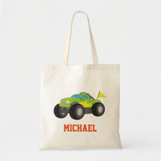 Racing Green Monster Truck for Racer Boys Tote Bag