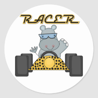 Racing Hippo T-shirts and Gifts Round Sticker