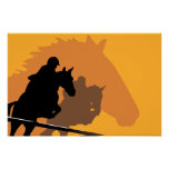 Racing Horses On A Yellow Background Poster