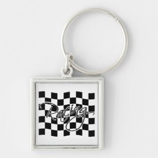 Racing key chain, customize Silver-Colored square keychain