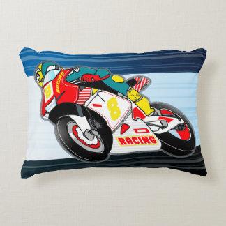 Racing motorbike decorative pillow