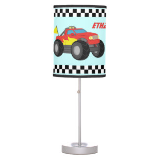 Racing Red Monster Truck, for Boys Room Table Lamp