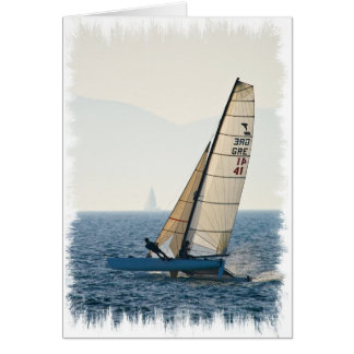 Racing Sailboat Greeting Card
