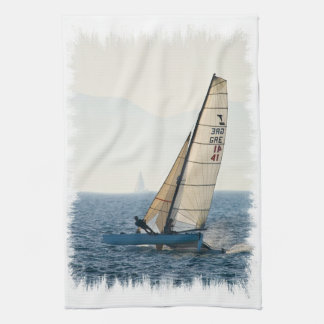 Racing Sailboat Kitchen Towel
