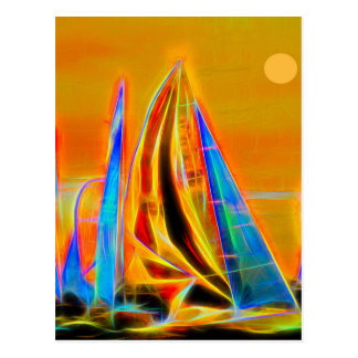 Racing Sailboats Postcard