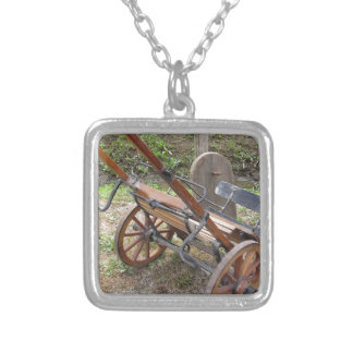 Racing sulky used in harness racing silver plated necklace