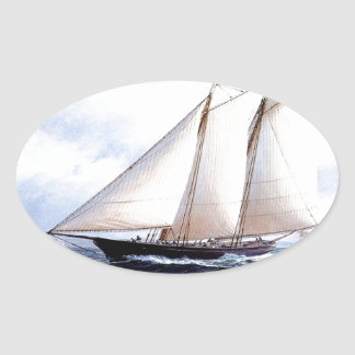 Racing yacht at sea oval sticker