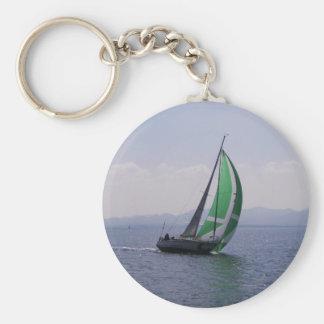 Racing yacht. basic round button keychain