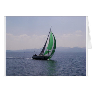Racing yacht. card