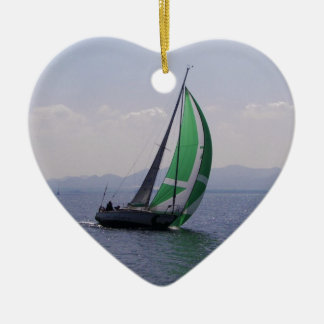 Racing yacht. ceramic ornament