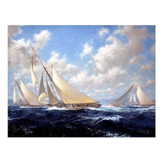 Racing yachts with a good wind postcard