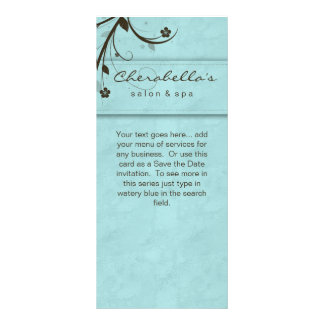 Rack Card Watery Blue Floral Salon Spa