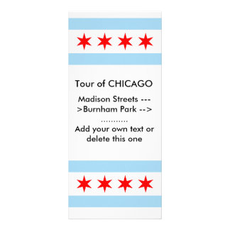 Rack Card with Flag of Chicago, Illinois, U.S.A.