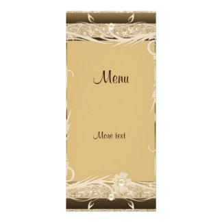Rack Menu Card Vintage Gold Brown Floral