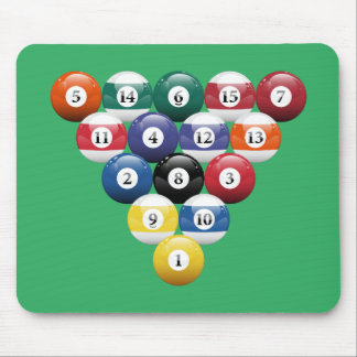 Racked Billiard Balls Mouse Pad