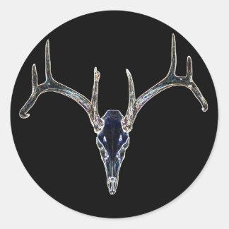 Rackgrafix Neon Buck Skull Sticker, Round Classic Round Sticker
