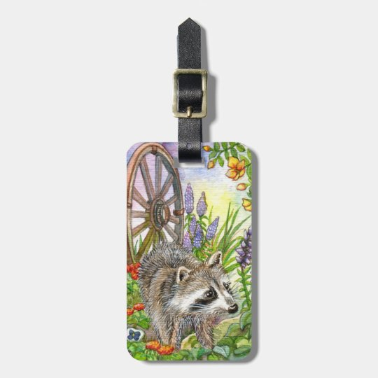 Racoon By Flower Garden Bag Tag