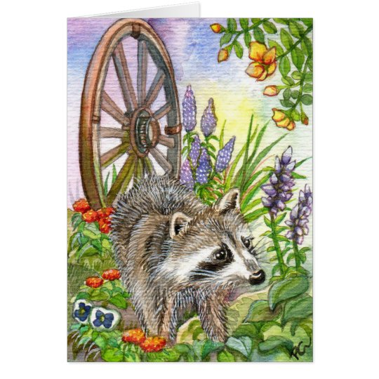 Racoon By Flower Garden Card