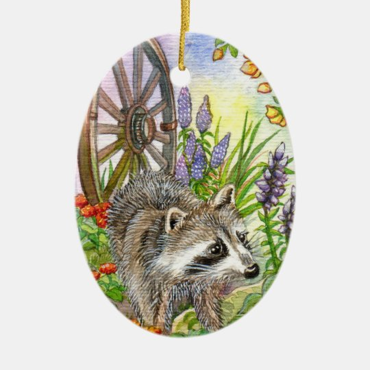 Racoon By Flower Garden Ceramic Ornament