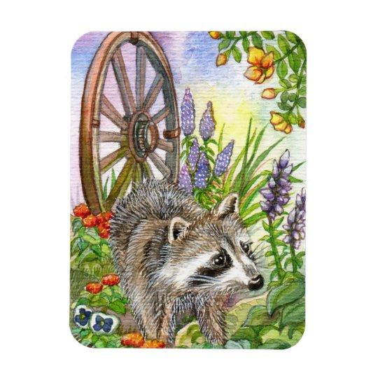 Racoon By Flower Garden Rectangular Photo Magnet