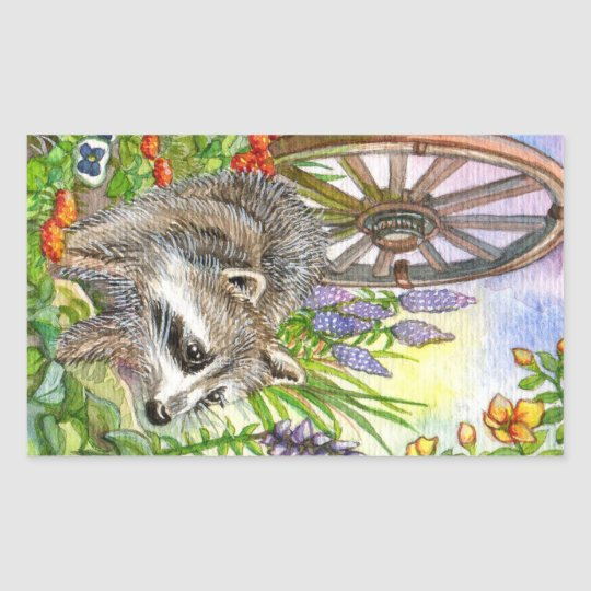 Racoon By Flower Garden Sticker