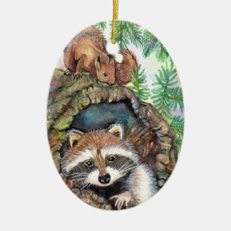 Racoon In The Tree Hole With Squirrel Ceramic Ornament