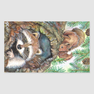 Racoon In The Tree Hole With Squirrel Sticker