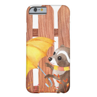 racoon with umbrella walking by fence barely there iPhone 6 case