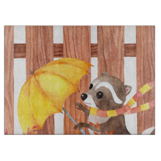 racoon with umbrella walking by fence boards
